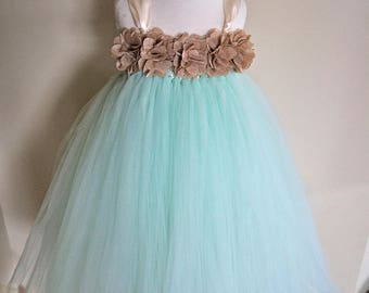 Girls Mint and ivory Dress; Mint and Burlap flower girl dress; Mint Green birthday dress; Mint dress for baby; Mint Flower Girl dress