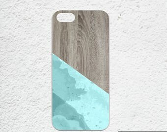 Watercolor iphone 7 case - Available for iPhone SE ,iPhone 6, iPhone 6s - blue watercolor iphone case - wood print iphone case