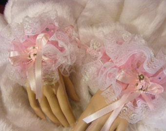 sissy adult baby pink sequin lace wrist cuffs or ankle cuffs opt bells fancy dress fetish cross dress burlesque cosplay kawaii lolita