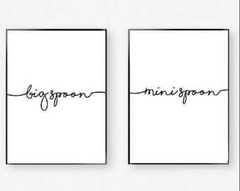 Big spoon Mini SpoonTypography a4 Print duo set