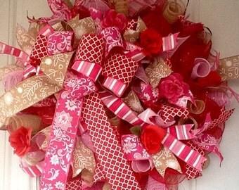 Red and Pink Valentine Wreath - Valentine Wreath - Valentines Wreath - Valentine's Day Wreath