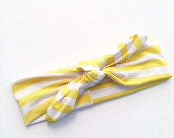 Yellow & White Knotted Tie, Top Knot Headbands, One size fits all headbands, baby headband, top knot headband, Jersey Knit Top Knot Tie