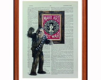 Chewbacca vs Obey Giant - dictionary art print home decor present gift Star Wars