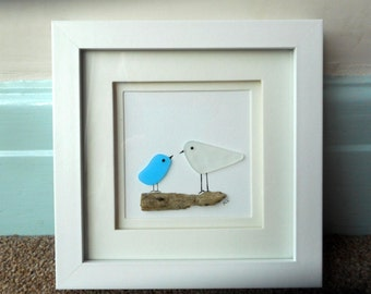 Sea glass, recycled glass, driftwood picture.