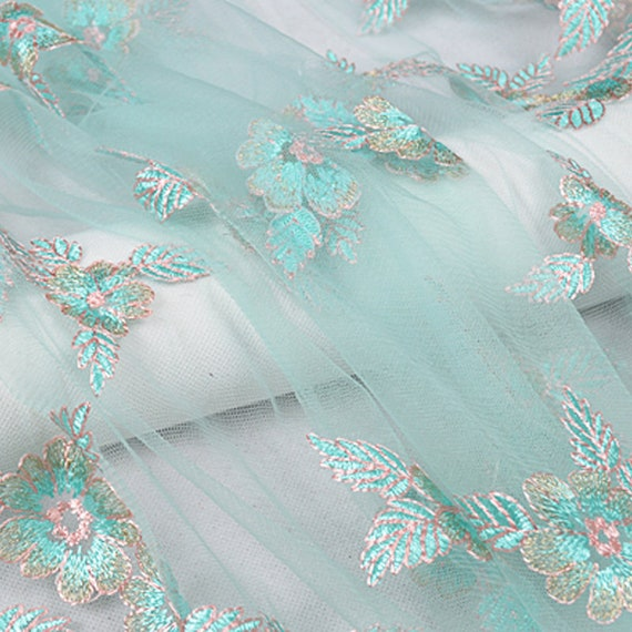 Mesh lace fabric by the yard floral colorful embroidery for Children s clothing fabric by the yard