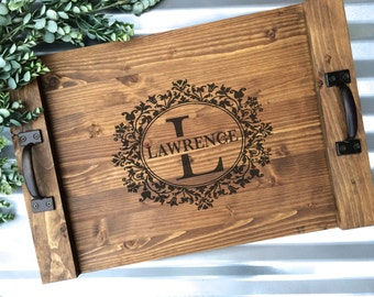 Rustic Personalized Serving Tray, Custom Wood Tray, Rustic Wedding Gift, Anniversary Gift, Christmas Gift, Housewarming Gift