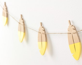 Feathers Garland, Wood Garland, Kids Room Decor, Boys Room Decor, Decorative Garland, Home Decor, Yellow Feathers Garland, Bedroom Decor.