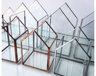 2 Little houses stained glass terrarium - handmade glass - indoor garden holder - geometric home decor object - perfect gift elegant chic.