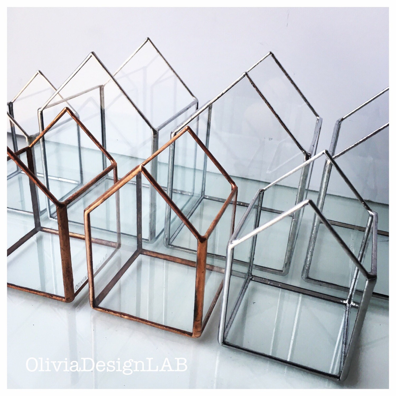 2 little houses stained glass terrarium handmade glass indoor