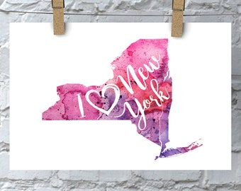 I Heart New York State Map Art Print, I Love New York Watercolor Home Decor Map Painting, NY Giclee State Art, Housewarming or Moving Gift