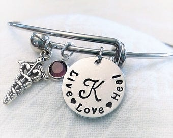 Personalized Nurse Bracelet,RN Bracelet,LPN Bangle,CNA Bracelet,Nurse Jewelry,Gift for Nurse,Custom Nurse Gift,Cna Jewelry,Graduation Gift