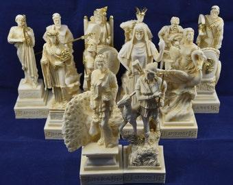 Olympians Sculpture Alabaster Dodekatheon Twelve Gods sculpture set