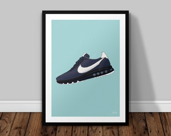 Nike Air Max Zero - H Illustrated Poster Print   A6 A5 A4 A3