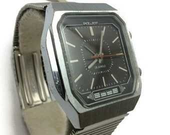 """Vintage Russian USSR mens Wrist watch Poljot Signal vibrated Alarm ring 18 jewels Poliot """"Flight"""" Black square watch Gift for him"""