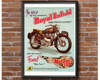 1954 Royal Enfield Meteor 700 Big Twin Motorcycle Promotional Poster