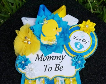 Baby Boy Rubber Ducky Bubbles Blue Yellow Themed Mommy To Be Baby Shower Corsage
