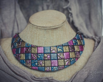 Statement necklace Bib necklace mosaic necklace colorful necklace polymer clay necklace bright necklace marsala blue gold necklace