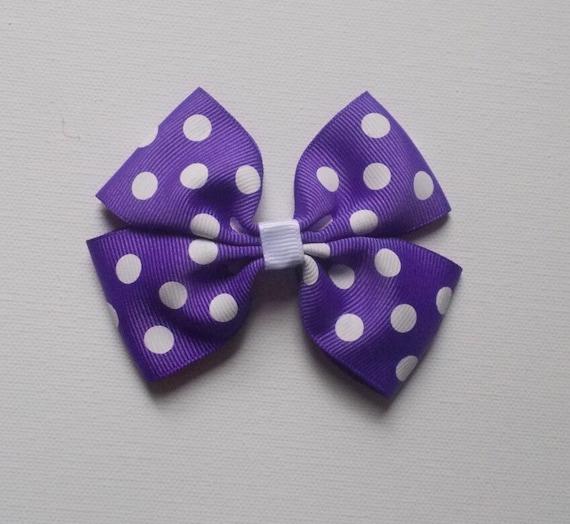 Purple Polka Dot Hairbow