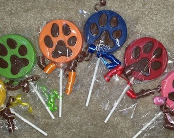 Paw Patrol inspired / Paw print / Puppy / Doggie Chocolate Lollipop Party Favors