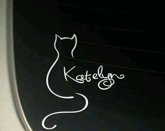 Cat Silhouette decal with name
