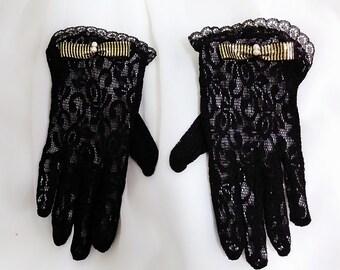 Black party gloves, Little girls gloves, Flower girl gloves, Junior gloves, First Communion gloves, Easter gloves, Church gloves, Mittens