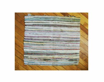 "Vintage Braided Rag Rug Small 21"" by 23.5, Soft Multi-Color Stripe, Classic Americana Colonial Look, Reversable, See Description Below"