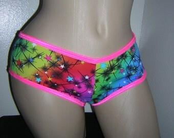 Galaxy Stars Cheeky Booty Stripper Shorts Exotic Dance wear Extreme Swimsuit Swimwear One Size