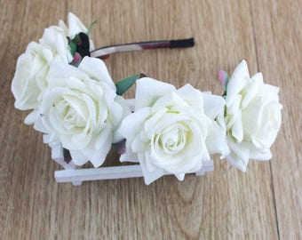 White Rose Flower Hairband Wedding Accessories