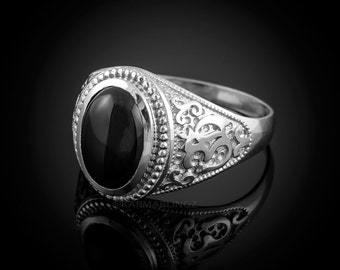 Sterling Silver Om Black Onyx Oval Cabochon Ring