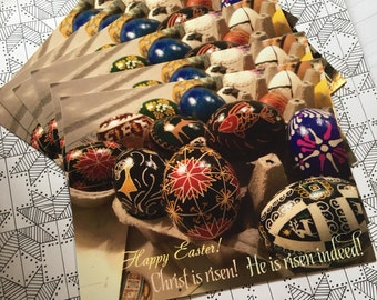 Happy Easter cards/ Ukrainian Easter cards/ ethnographic/ Ukrainian Postcards/ Easter eggs card/ Pysanky/ Christ is Risen / Pysanka