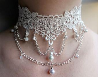 White Lace pearl choker, White Pearl bridal choker, hanging beads detail lace choker, Brides white lace choker, Lace and bead detail choker