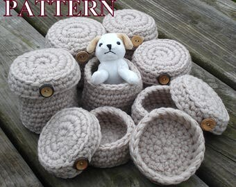 Basket with lid crochet PATTERN basket crochet pattern crochet basket pattern storage crochet jewelry basket storage OlgaAndrewDesigns100