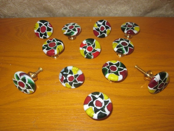 """12 Designed Glass Knobs, 1.25"""" diameter Round Multi color with brass base"""