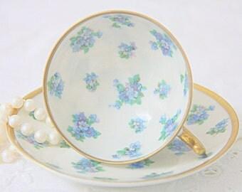 Beautiful Vintage Porcelain Demitasse Cup and Saucer, Blue Flower Decor