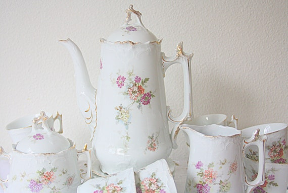Lovely Antique French Coffee Service, 8 Person Coffee Set, Flower Decor, Handpainted