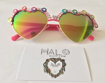 Mirror heart embellished sunglasses. Party and Fancy dress accessory