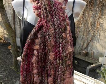 FLOWERGARDEN handknitted long shawl of handspun yarn, art yarn / hand dyed / beads of cats / soft / locks