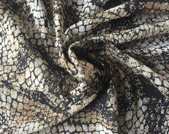 FREE SHIPPING | Printed Polyester Chiffon - Black/Tan/Camel Snakeprint Chiffon Fabric by the Yard