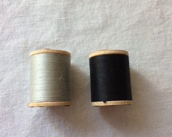 Set of 2 New Spools Sparta Cotton Thread 50 Weight Gray and Black 40 Yards Each