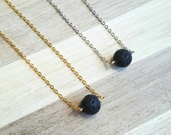 Aromatherapy Necklace // Essential Oil Diffuser Necklace // Lava Stone Necklace // Lava Rock Necklace // Minimalist Necklace // Yoga Jewelry