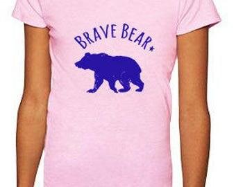 Brave Bear Youth Girls Tee. Toddler/ Kid's Tees. Pink.
