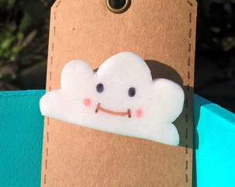 Cute Happy Cloud Fimo Brooch.