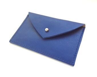 Leather Card Holder.Leather Card Case.Envelope Wallet.Leather Credit Card holder.Business Card Case.ID Wallel Minimal.Blue card holder.