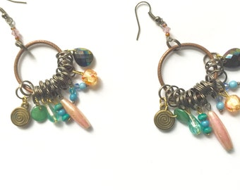 Vintage Bead Earrings Upcycled Gypsy Earrings