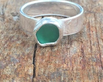 Sea Glass Ring, Green Sea Glass Ring,Sterling Silver Sea Glass Ring,Sea Glass jewellery, Sea Glass Jewelry, Silver Rings, Gift for Her, UK