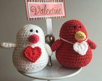 Amigurumi Valentine Lovebird Couple, Crochet Bird, Red, White
