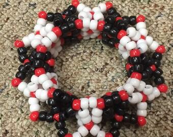 Red, black, white 3D kandi cuff