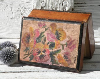 A small French vintage hand-painted wooden box, trinket box, rustic box, small wooden box, pansy painted box, decorative box keepsake box