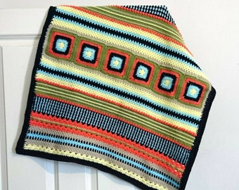 "Crochet baby blanket babyboy exclusive design babygift crib pram blanket 28""x32"""
