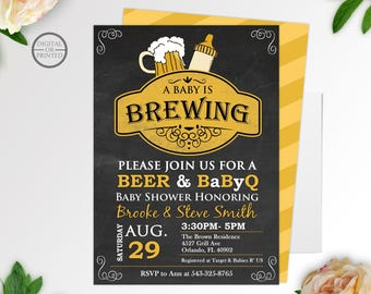 A Baby is Brewing Invitation, BBQ Baby Shower Invitation, Baby Q Shower Invitations, BabyQ Invitation, Coed Shower, Chalkboard Invite